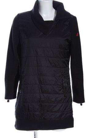 Franstyle Pikowany płaszcz czarny Pikowany wzór W stylu casual