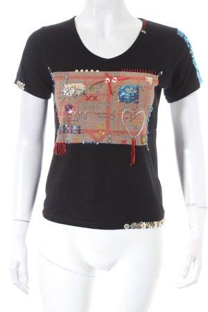Frantie T-Shirt schwarz Motivdruck extravaganter Stil