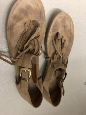 Sandalo infradito beige Pelle