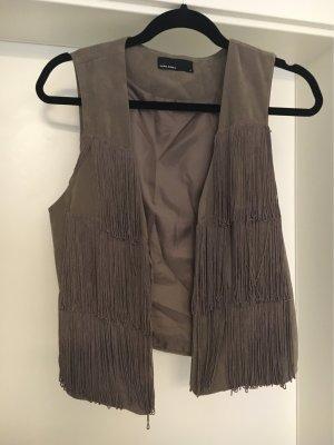 Vero Moda Fringed Vest dark grey-beige