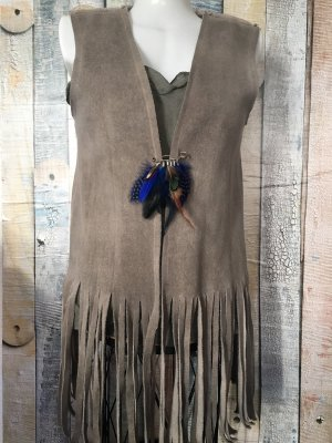 Made in Italy Fringed Vest grey brown-blue