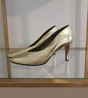 Französische Vintage Pumps High Heels Gr.38 Gold wie neu! Von femmes secrets Leder