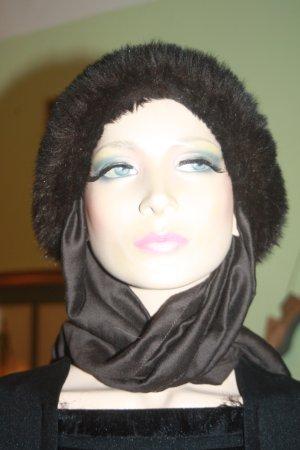 Cappello di lana nero-marrone scuro Pelliccia