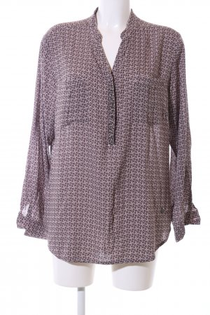 Frapp Long Blouse brown-white allover print casual look