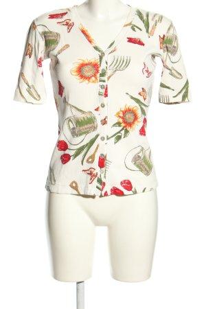 Frapp Rippshirt Blumenmuster Casual-Look