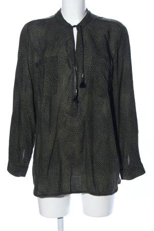 Frapp Schlupf-Bluse khaki-schwarz Allover-Druck Casual-Look
