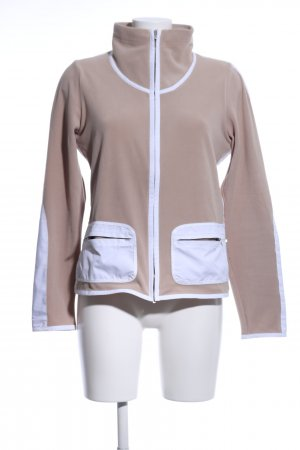 Frauenschuh Fleecejacke braun-weiß Casual-Look
