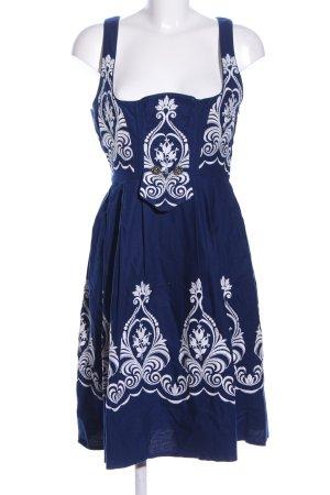 Dirndl bleu-blanc Mélange de motifs élégant
