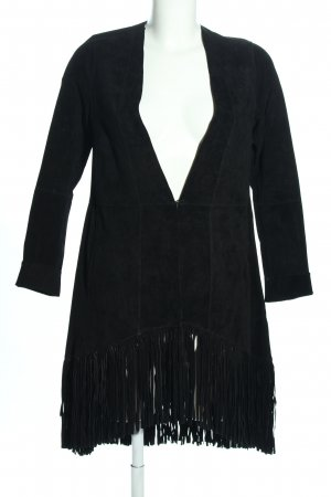 Freaky Nation Cappotto in pelle nero stile casual
