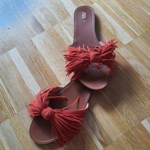 Zara Woman Sandales Salomé à talon haut rouge clair-rouge cuir