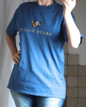 """Fred Harvey Death Valley T-Shirt, Native American T-Shirt, blau, Baumwolle mit Applikation, Stickerei Tierkopf weiß/schwarz mit orangen Fransen und Stickerei """"Death Valley"""", für Damen und Herren, TOP Zustand, Gr. M"""