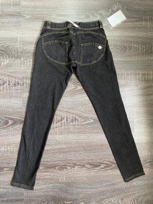 Fred Perry ähnliche Jeggings jeans schwarz dunkelgrau skinny Röhrenjeans Po betont Knöpfe leggings neu