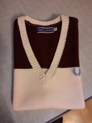 Fred Perry V-Neck Sweater natural white-bordeaux