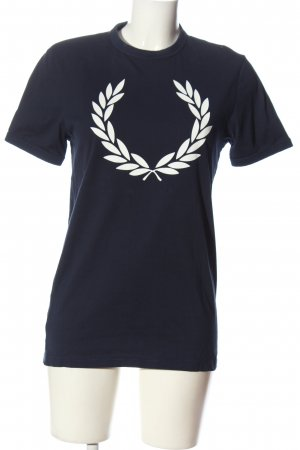 Fred Perry T-shirt blu-bianco Stampa a tema stile casual