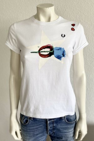Fred Perry T-Shirt Gr. 34 weiss Amy Winehouse SG4132
