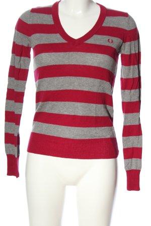 Fred Perry Jersey con cuello de pico rojo-gris claro moteado look casual