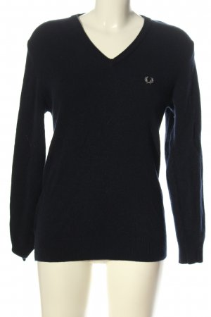 Fred Perry V-Neck Sweater blue casual look