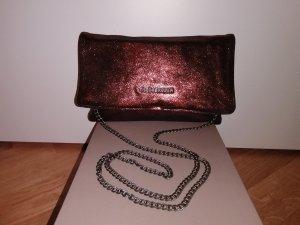 FREDsBRUDER Clutch rostrot Leder metallic, glitzernd/schimmernd