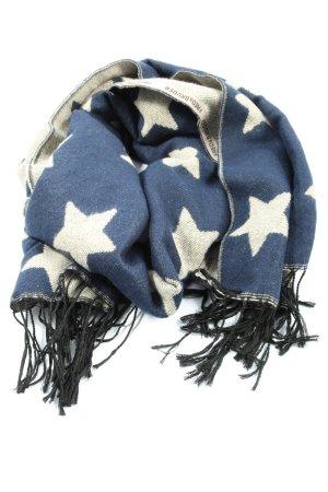 Fredsbruder Sciarpa con frange blu-bianco sporco motivo astratto stile casual