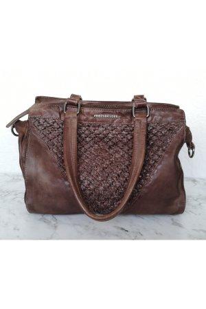 FREDsBRUDER Ledertasche braun Handtasche hochwertig Echtleder Schultergurt Pike-Luxury cognac weich