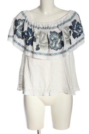 Free People Carmen Shirt white-blue flower pattern casual look