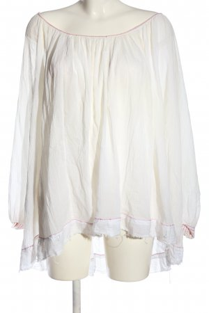 Free People Kreukelblouse wit-rood casual uitstraling