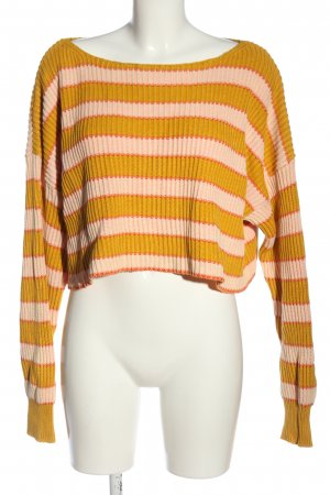 Free People Crochet Sweater light orange-pink striped pattern casual look