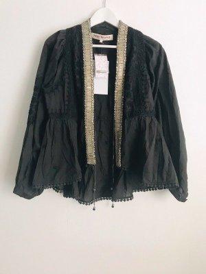 Free People Jacke Kimono Cardigan bestickt schwarz Hippie S 36 38