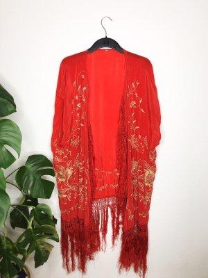 Free People Kimono rojo-color oro