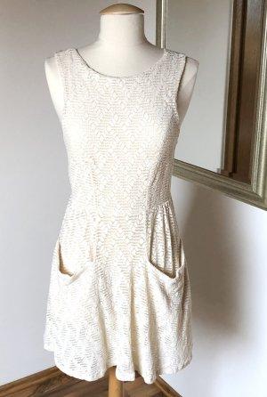 Free People Kleid Minikleid Skaterkleid Spitze Weiß Creme Ecru XS