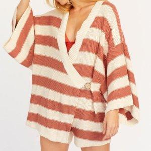 Free People Knit Robe Romper Playsuit Jumpsuit Kimono Mantel Bademantel Shorts Pulli Sweater Strick