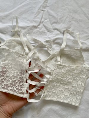 Free People T-shirt court blanc-blanc cassé polyester