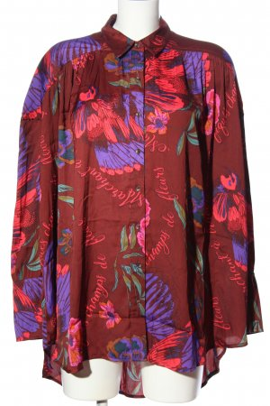 Free People Long Sleeve Blouse red-lilac themed print business style