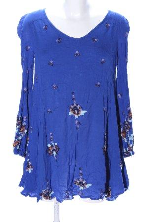 Free People Minikleid blau-braun abstraktes Muster Casual-Look