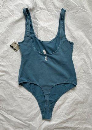 Free People Body basic stalowy niebieski-chabrowy Bawełna