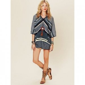 Free People Poncho blue-petrol