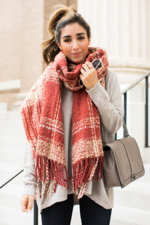 Free People Fringed Scarf oatmeal-russet