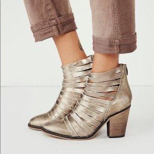 Free People Schuhe Stiefeletten Hybrid Booties 41, Leder Metallik
