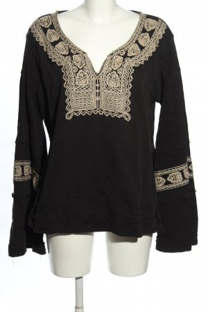 Free People Bluzka tunika czarny-kremowy W stylu casual