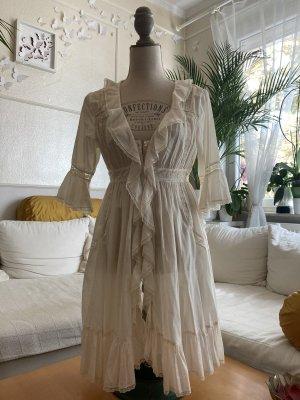 Free People Sukienka z falbanami kremowy-w kolorze białej wełny Bawełna