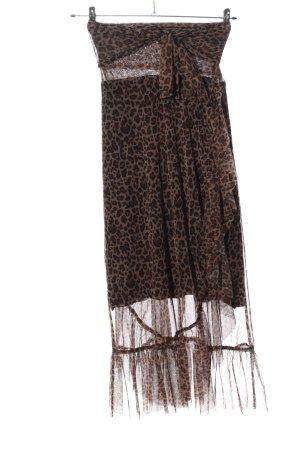 FREE / QUENT Wraparound Skirt brown-black leopard pattern extravagant style