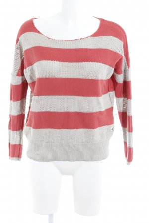 Freeman t. porter Pull en crochet gris clair-rouge clair style décontracté