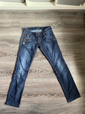 Freeman T. Porter jeans dunkelblau ripped Loch Knie dunkelblau blau Reißverschlüsse Anhänger gr.26