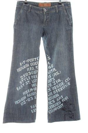 Freeman t. porter Jeansschlaghose blau Schriftzug gedruckt Casual-Look