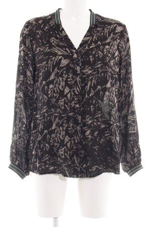 Freequent Langarm-Bluse schwarz-wollweiß abstraktes Muster Business-Look