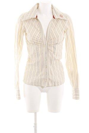 Freesoul Blouse-chemisier blanc cassé-gris clair motif rayé style d'affaires