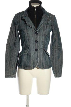 Freesoul Veste en jean gris clair-noir imprimé allover style décontracté