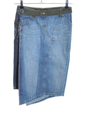 Freesoul Jupe en jeans bleu-kaki style décontracté