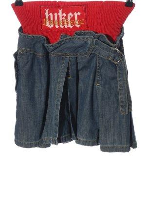 Freesoul Jupe en jeans bleu-rouge lettrage imprimé style décontracté