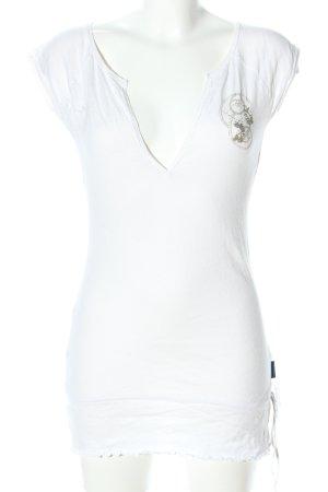 Freesoul Camisa larga blanco-color oro estampado gráfico look casual
